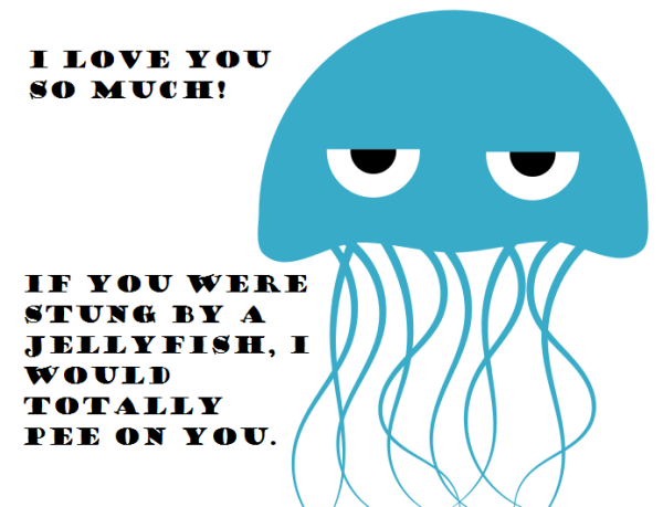 anniversary card funny jellyfish pee